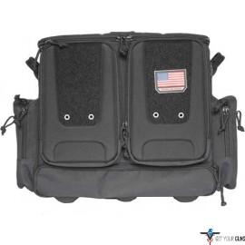 GPS TACTICAL ROLLING RANGE BAG HOLDS 10 HANDGUNS BLACK NYLON