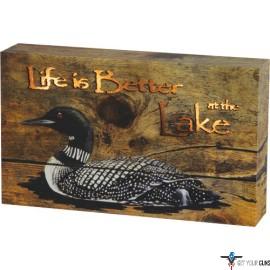 "RIVERS EDGE LED SIGN BOX 8""X5"" ""LIFE BETTER AT LAKE"" 3AA"