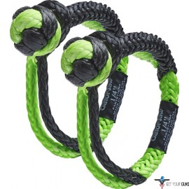 "BUBBA ROPE MINI GATOR JAW 1/4"" SYNTHETIC SHACKLES BLACK/GREEN"