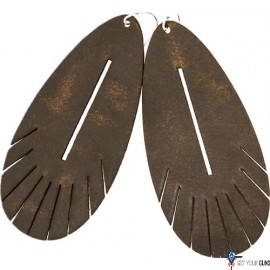 VC LEATHER FEATHER STYLE EARINGS-WATER BUFFALO LTHR BRN