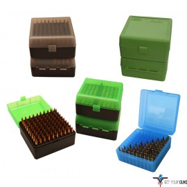 MTM DELUXE AMMO BOX RIFLE 100 ROUNDS .22-250 TO .375H&H GRN
