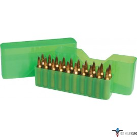 MTM AMMO BOX LARGE RIFLE 20 ROUNDS SLIP TOP CLEAR GREEN