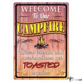 """RIVERS EDGE SIGN 12""""x17"""" """"WELCOME TO OUR CAMPFIRE"""""""