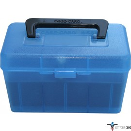 MTM DELUXE AMMO BOX 50-ROUNDS RIFLE 7MM RM TO 300 WM CLR BLU
