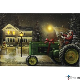 """RIVERS EDGE LED WRAPPED CANVAS ART 24""""X16"""" SANTA ON TRACTOR"""