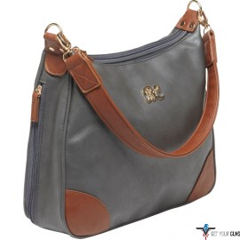 BULLDOG CONCEALED CARRY PURSE HOBO STYLE GRAY W/TAN TRIM