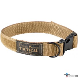 "US TACTICAL K9 COLLAR QUICK RELEASE BUCKLE MED 18"" COYOTE"