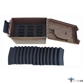 MTM TACTICAL MAGAZINE CAN DARK EARTH HOLDS 15 AR-15 MAGS