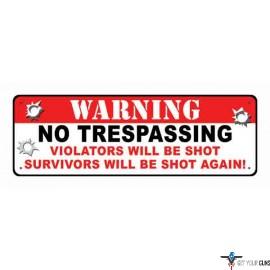 "RIVERS EDGE SIGN 10.5""x3.5"" ""WARNING NO TRESPASSING"""