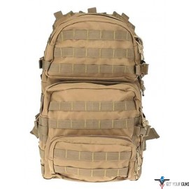 DRAGO ASSAULT BACKPACK TAN MAX CAP STORAGE COMPARTMENTS