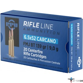 PPU AMMO 6.5X52 CARCANO 139GR. FMJ 20RD BOX
