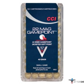 CCI AMMO .22WMR 50-PACK 1875FPS. 40GR. GAMEPOINT