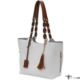 BULLDOG CONCEALED CARRY PURSE BRAIDED TOTE STYLE WHITE