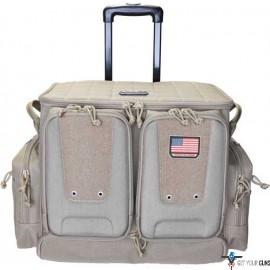 GPS TACTICAL ROLLING RANGE BAG HOLDS 10 HANDGUNS TAN