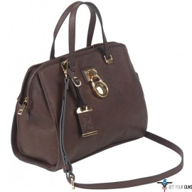 BULLDOG CONCEALED CARRY PURSE SATCHEL CHOCOLATE BROWN