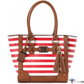 BULLDOG CONCEALED CARRY PURSE TOTE STYLE CHERRY STRIPE